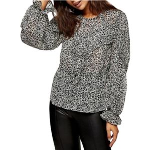 TOPSHOP Ditsy Floral Print Ruffle Front  Blouse